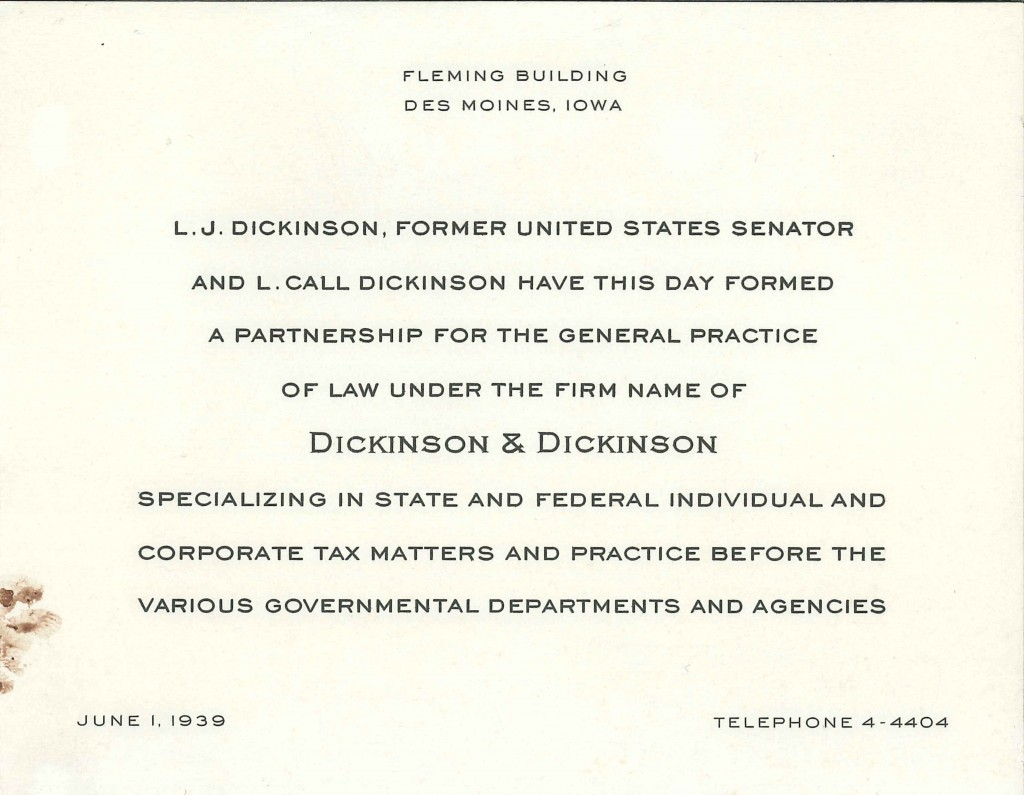 Announcing the Addition of Senator L.J. Dickinson in 1939