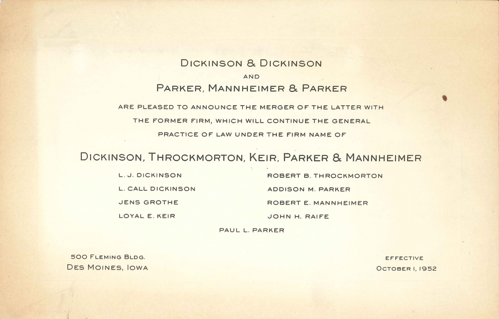 Announcing the Dickinson Law Firm's Merger with Parker, Mannheimer & Paker