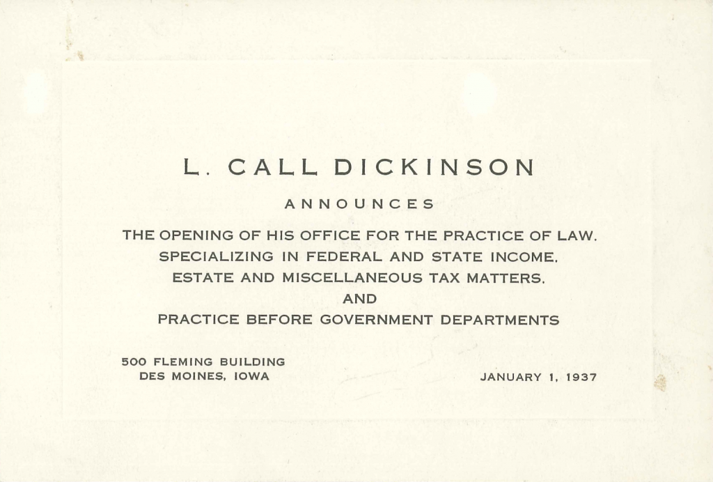 Announcing the Opening of the Dickinson Law Firm in 1937