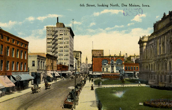 Early 20th Century Des Moines - Sixth Avenue Looking Noth